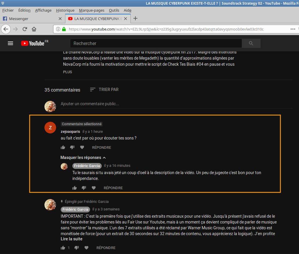 Assistanat mental : où trouver la musique de Frédéric Garcia sans prendre 30 secondes pour parcourir l description de la vidéo